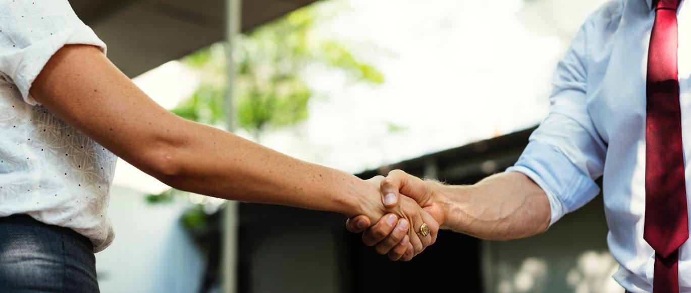 handshake between male and female